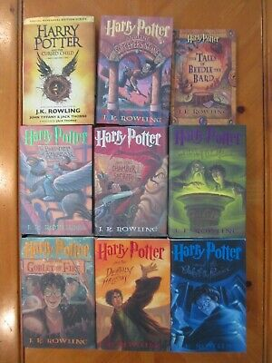 Complete Harry Potter Hard Cover Book Set Of 7 + Beedle The Bard & Cursed Child
