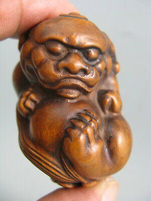 Antique Chinese Old Boxwood Hand Carved Lion Netsuke Statue
