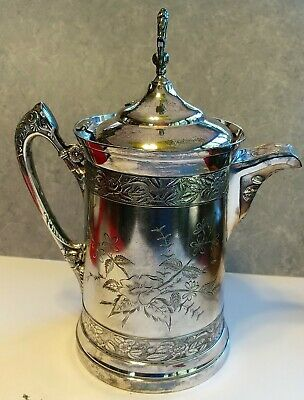 "Silverplate Water Pitcher 14"" Vintage Stamped Southington Ornate Flower Design"