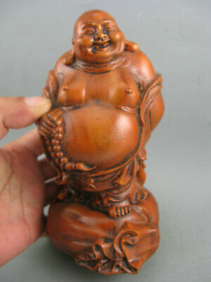 Antique Chinese Old Boxwood Hand Carved Big Buddha Statue