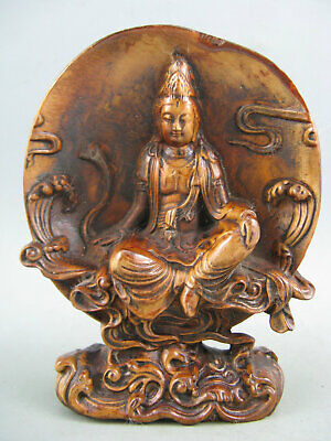 Antique Chinese Old Boxwood Hand Carved Kwan-Yin Statue