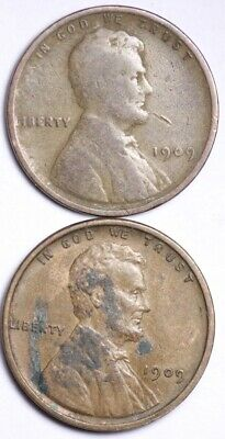 1909 AND 1909 VDB Lincoln Wheat Cent Penny FREE SHIPPING