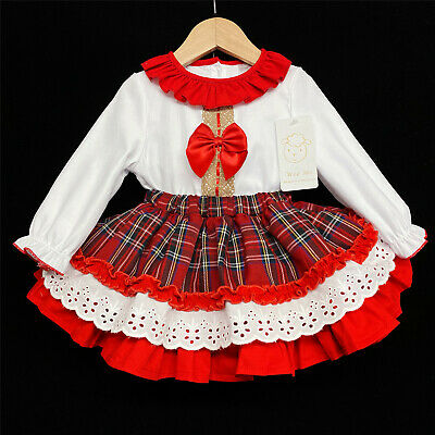 Gorgeous Wee Me Baby Girl Red Spanish Tartan Skirt Long Sleeve Shirt Set