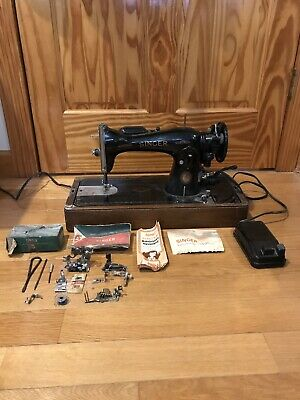 Vintage Antique Sewing Machine Singer 15-91 Working Condition With Case & Extras