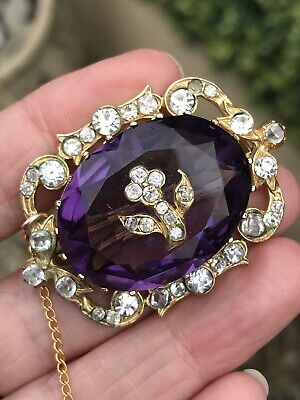 Antique Victorian Pinchbeck Amethyst Paste Forget Me Not Brooch/Pin