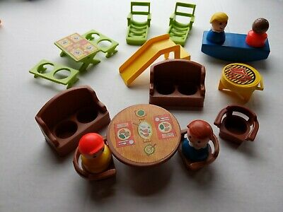 Fisher Price Little People Vintage Furniture Lot Chairs Tables Slide Grill