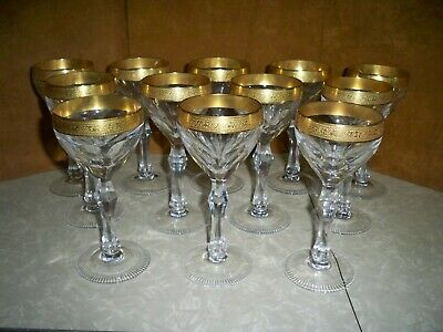 Antique Set Of 12 Moser Czech Glass 7.25 Inch Wine Glasses With Etched Gold Rim