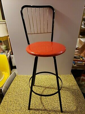 Remarkable Retro Metal Red Vinyl Seat Step Stool Chair Stepladder Pabps2019 Chair Design Images Pabps2019Com