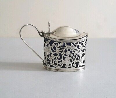 Pretty, Oval Antique Solid Silver Pierced, Engraved Mustard Pot.     Chest.1911.
