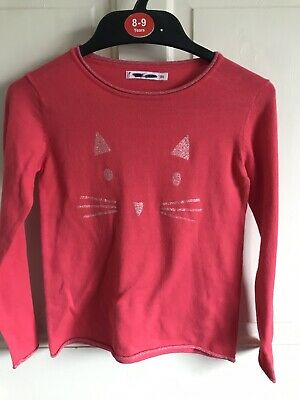 BNWOT M&Co Soft 'Cat Face' Jumper. Girls. Sparkly - Glitter. Red. Age 3 - 12 Yrs
