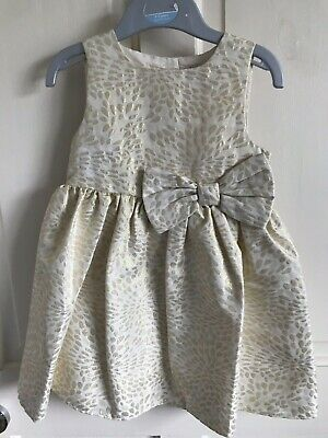 BNWOT Mini Mode Sleeveless Party Dress. Girls. Age 2 - 3 Years. Cream/ Gold/ Bow