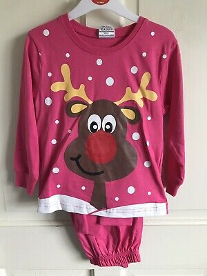 BNWT Festive Friends Christmas 'Reindeer' PJ Set. Girls. Pink. Age 3 - 4 Years