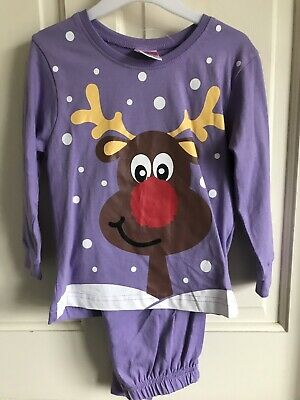 BNWT Festive Friends Christmas 'Reindeer' Pj Set. Girls. Purple. Age 2 - 6 Years