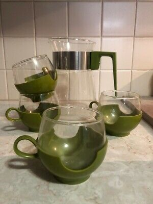PYREX Vintage Hot/Cold Coffee service -Avocado  Carafe and 4 Cups