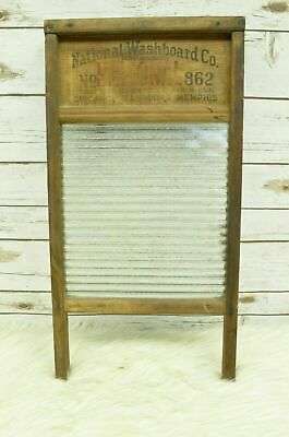 Vintage National Washboard Co No. 862 Top Notch Washboard Ribbed Glass & Wood