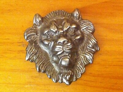 Gorgeous Old Pawn Coin Silver Lion Head Huge Buckle 161g