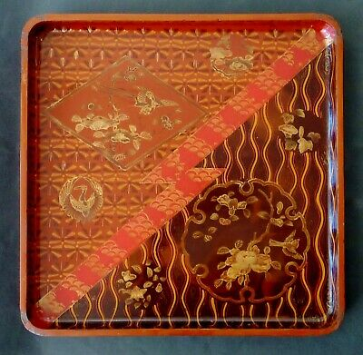 ANTIQUE MEIJI Japanese HAND PAINTED square NEGORO wooden LACQUER TRAY japannoise
