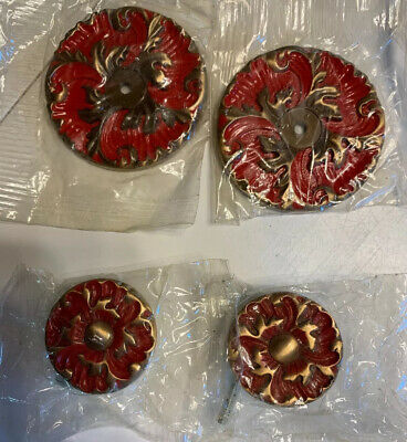 Vintage Red Enamel Drawer Pulls Back Plates Mid Century Hollywood Regency NOS