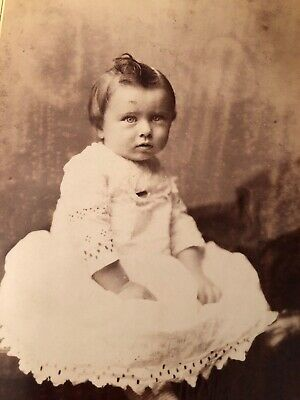 Vintage Cabinet Card Photo Studio Light Eyed Gorgeous Toddler Eyelet Gown