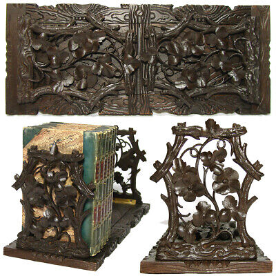 Antique Victorian Black Forest Carved Telescoping Book Rack, Flowers & Foliage