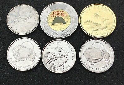 6 Mixed Coins Toonies/Loonies Canada 🇨🇦 all Canadian collection Circulated $4