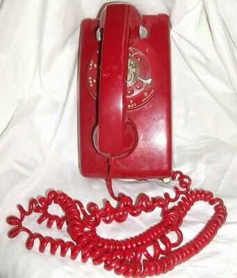 Vintage RED Rotary Telephone ITT System Western Electric Wall Phone, Working!