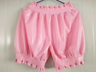 Latex Rubber Boxer Shorts Gummi Pink Cozy Ruffle Mini Unterhose Fashion Pants