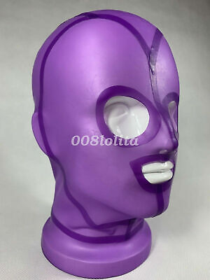 Latex Rubber Lila Mask Unique Sexy Maske Open Mouth And Eyes Gummi Cool Hood