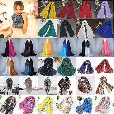 Womens Ladies Long Chiffon Voile Shawl Scarf Scarves Warp Stole Pashmina Scarves