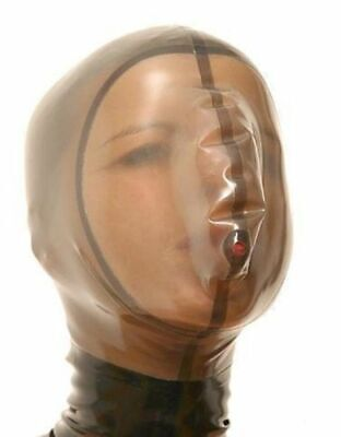 Mysterious 100% Latex Rubber Mask Sexy Maske Gummi Cool Braun Hood Masquerade