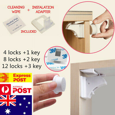 12X Magnetic No Drilling Cabinet Drawer Cupboard Locks Baby Kids Safety Lock AU