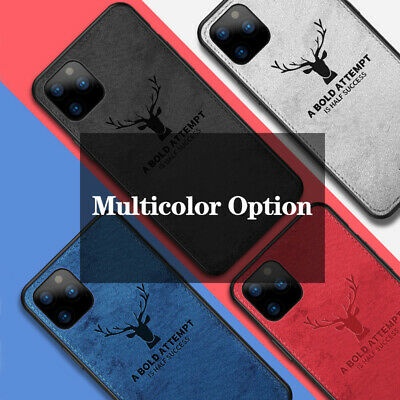 Case For iPhone 11 Pro Max Hybrid Fabric Soft TPU Leather Back Cover