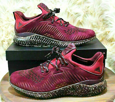 Mens Adidas 11.5 ALPHABOUNCE LEA Running Shoes Suede Sneakers Maroon New in Box