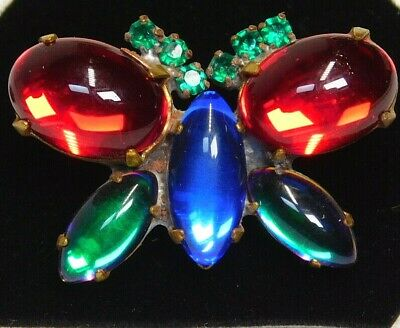 Antique Vtg BUTTON Large Colorful Glass Jewel Butterfly  B7