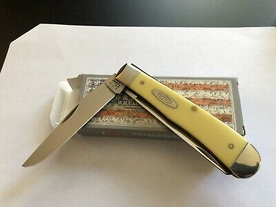 Case Xx Knife - Trapper Yellow Synthetic Handles- Steel Blade -Unused-