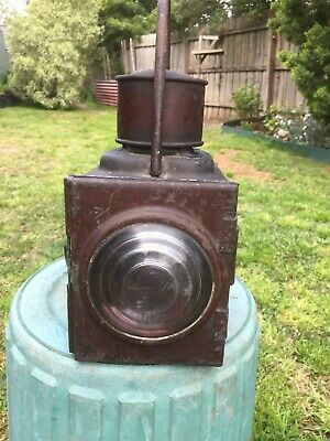 Vintage Railway Lamp With Brass Burner