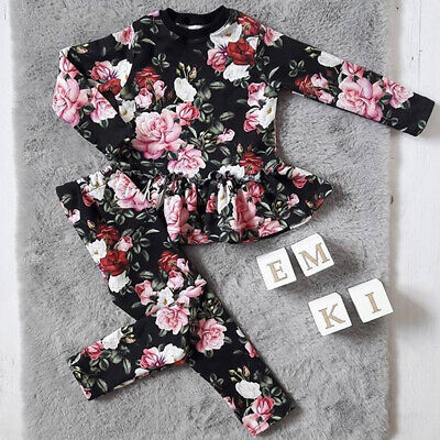 UK Winter Kids Baby Girls Outfits Clothes T-shirt Tops Dress+Pants Leggings Sets