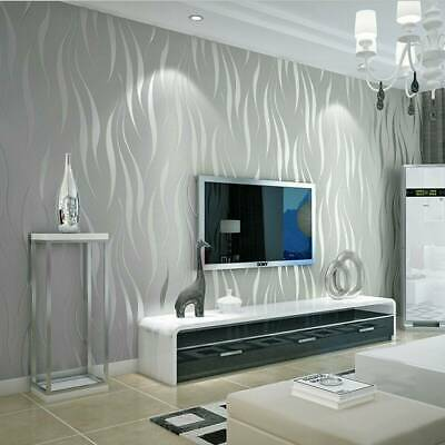 Modern 3D Crescent Wave Stripes Embossed Non-woven  Wallpaper