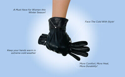 Ladies Leather Gloves Womens Super Soft Fleece Lined Winter Casual Driving Warm
