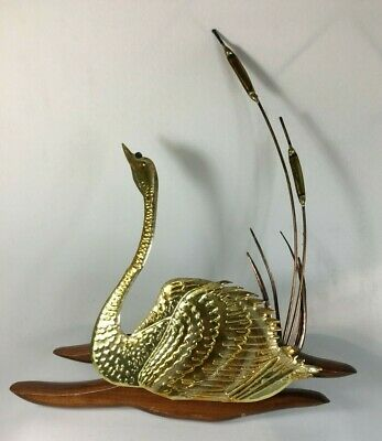 Mid Century Swan Wall Hangings Copper Retro Brass Metal Wood