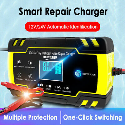 Car Battery Charger 12/24V LCD Intelligent Automobile Motorcycle Pulse Repair UK