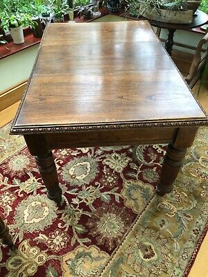 Oak art deco extending dining table with decorative edge