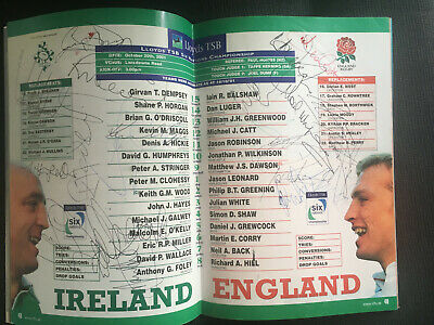 SIGNED IRELAND v ENGLAND 2001 Six Nations RUGBY Programme. England champions!