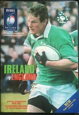 SIGNED IRELAND (19) v ENGLAND (13) Six Nations 2005 RUGBY Programme