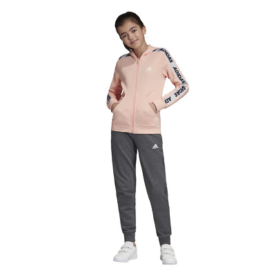 Adidas Girls Hooded Tracksuit Running School Sports Gym Youth Kids ED4636 New