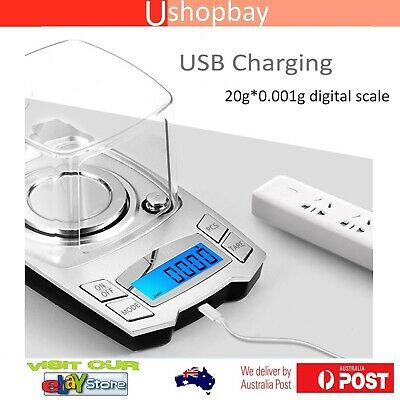 Digital Precision Scale USB Charging Weighing Jewelry Milligram 20g/0.001g
