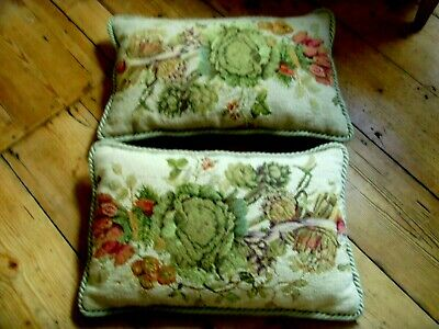 Set Of 2 Chelsea Textiles Needlepoint Tapestry Cushions Hand Embroidered
