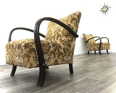 Original Early Mid Century / Art Deco Bentwood Armchairs Halabala style
