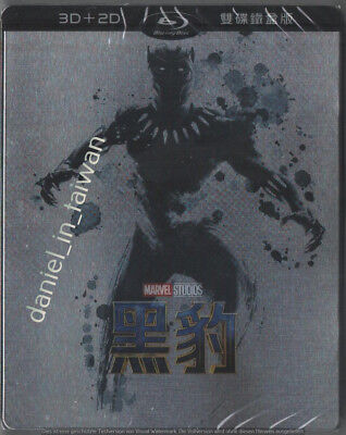 Marvel Black Panther 3D & 2D (2018) TAIWAN BLU RAY STEELBOOK w/ PVC Slipcover
