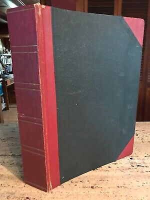 "Vintage Empty Scrap Book Photo Album Binding 1950s 14""x10"" Red & Black"
